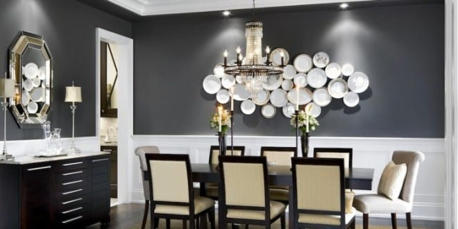 Schwarze Wande Und Kreative Wandgestaltung Mit Weissen Schalen Fur Moderne Esszimmer Holzesstisch Schwarz Sideboard