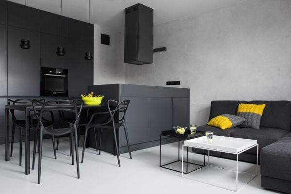 Schwarze Wande Und Schwarze Mobel Fur Moderne Einrichtung Kleiner
