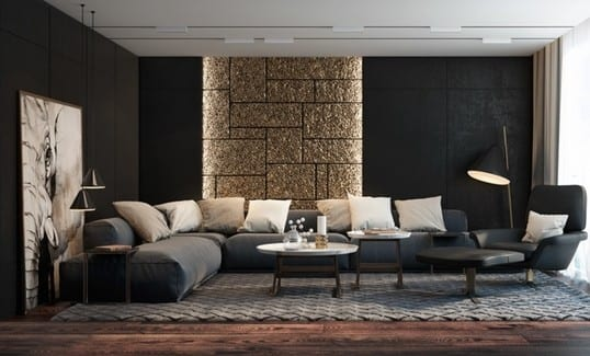 Wohnideen wohnzimmer wände  texturierte schwarze wände mit indirekter wandbeleuchtung für ...