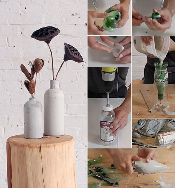diy vase aus beton coole idee f r basteln mit beton. Black Bedroom Furniture Sets. Home Design Ideas