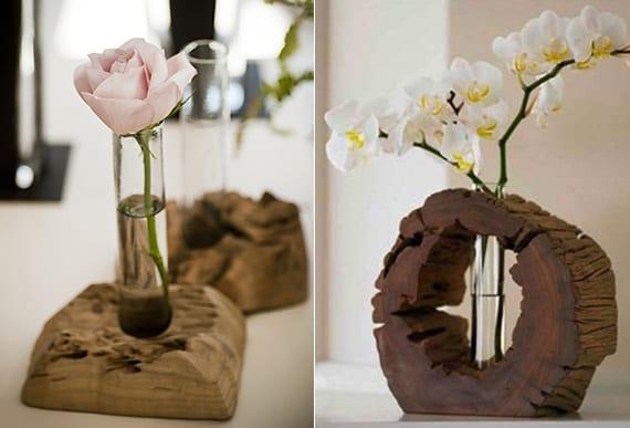 Diy vase aus holz und glasr hrchen freshouse - Tischdeko aus holz ...