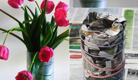 diy vase ideen moderne glas vasen selbst gestalten mit gummib ndern und matt sprayfarbe freshouse. Black Bedroom Furniture Sets. Home Design Ideas