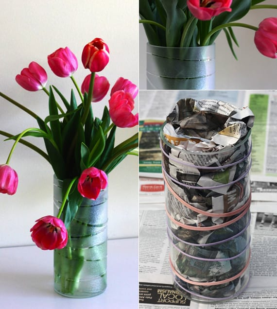 diy vase ideen moderne glas vasen selbst gestalten mit gummib ndern und matt sprayfarbe freshouse. Black Bedroom Furniture Sets. Home Design Ideas