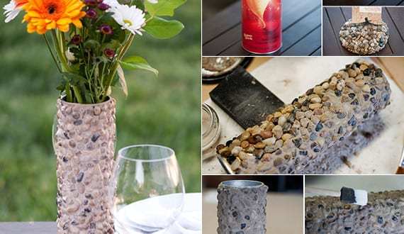 diy vase rund mit steinen deko basteln mit naturmaterialien freshouse. Black Bedroom Furniture Sets. Home Design Ideas