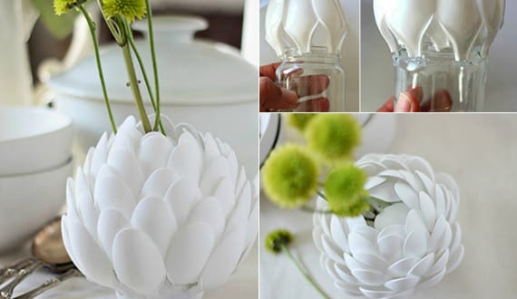 diy vase wei aus plastikl ffeln als coole dekoidee. Black Bedroom Furniture Sets. Home Design Ideas