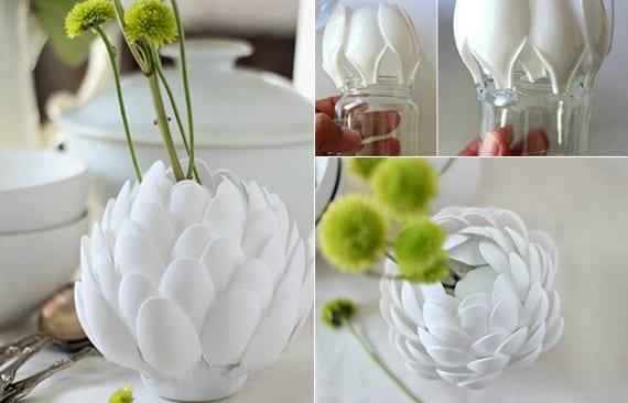 diy vase weiss aus plastikloeffeln als coole dekoidee