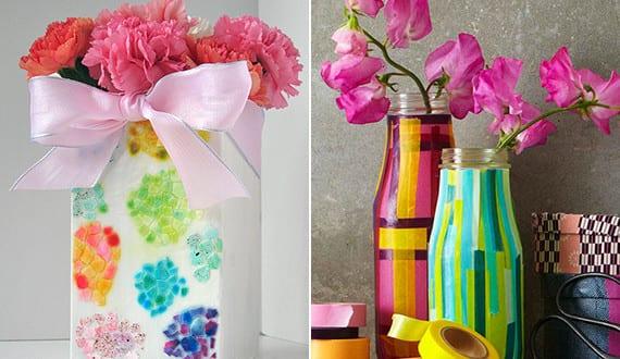 diy vase vasen selbst gestalten mit eierschalen und farbigem klebeband freshouse. Black Bedroom Furniture Sets. Home Design Ideas