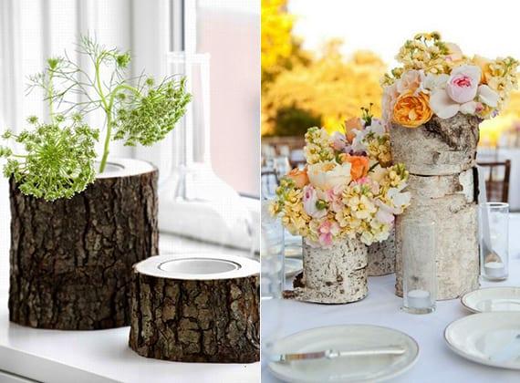 Diy vasen aus holz dekoideen f r kreative tischdeko und coole blumendeko freshouse - Coole tischdeko ...