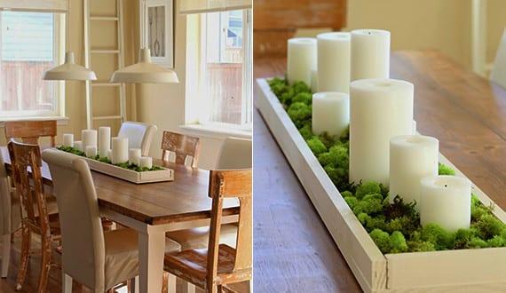 Fruhlingsdeko Basteln Als Kreative Tischdeko Mit Kerzen Und Moss