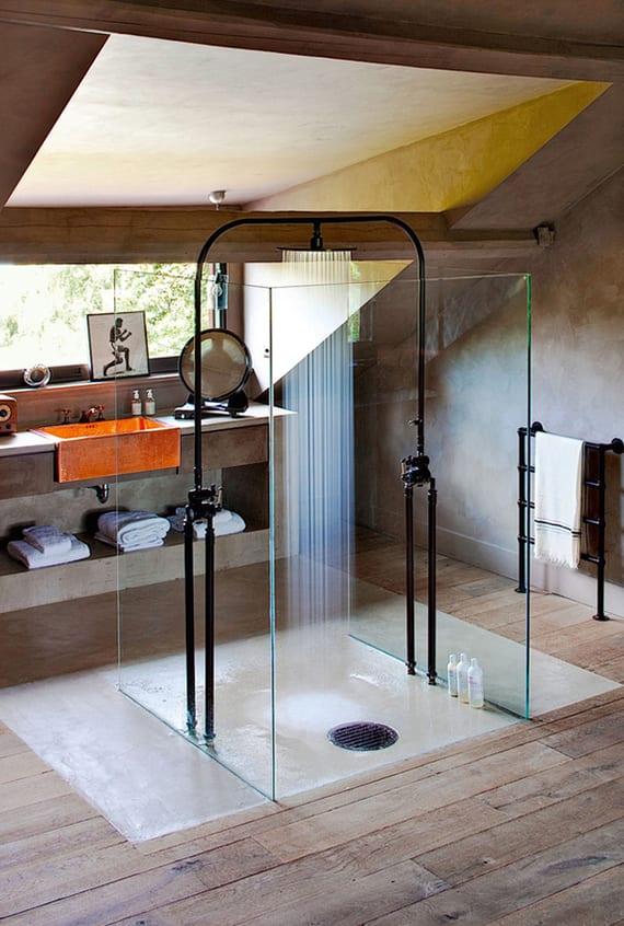Moderne Badezimmer Im Vintage Style Mit Moderner Dusche