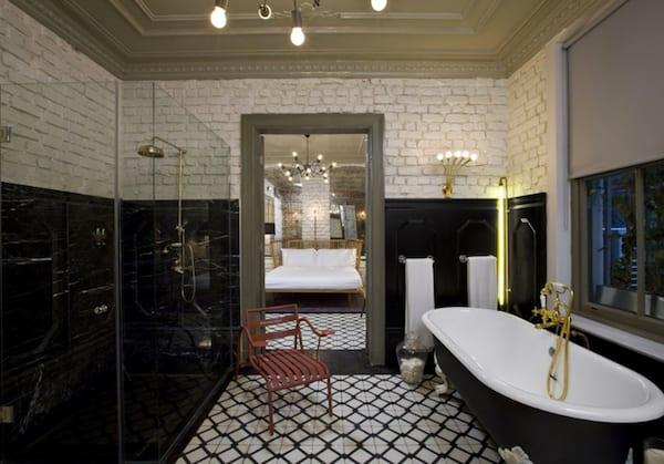 Moderne Badezimmer Im Vintage Style Mit Ziegelwand Weiß