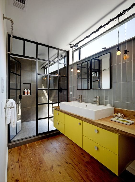 Holzfußboden Im Badezimmer, moderne badezimmer im vintage style_kleines badezimmer mit, Design ideen