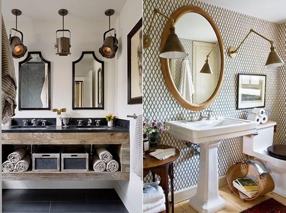 Moderne Badezimmer Im Vintage Stale Mit Vintage Lampen Und Vintage