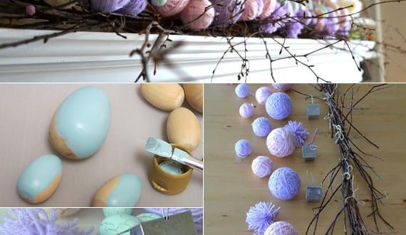 osterdeko basteln mit holzeiern und zweigen kreative bastelideen ostern freshouse. Black Bedroom Furniture Sets. Home Design Ideas