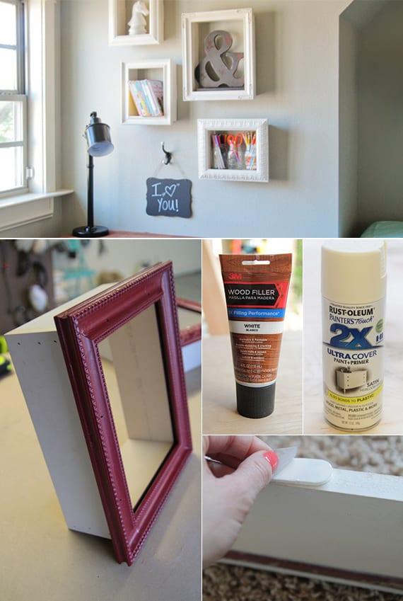 wand gestalten mit diy deko aus bilder rahmen einfache bastelideen und coole deko ideen f r. Black Bedroom Furniture Sets. Home Design Ideas