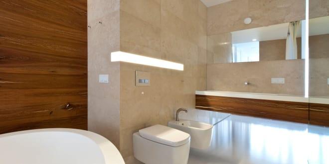 Bad modern gestalten mit einbauwandleuchte und akzentwand for Bad gestalten modern