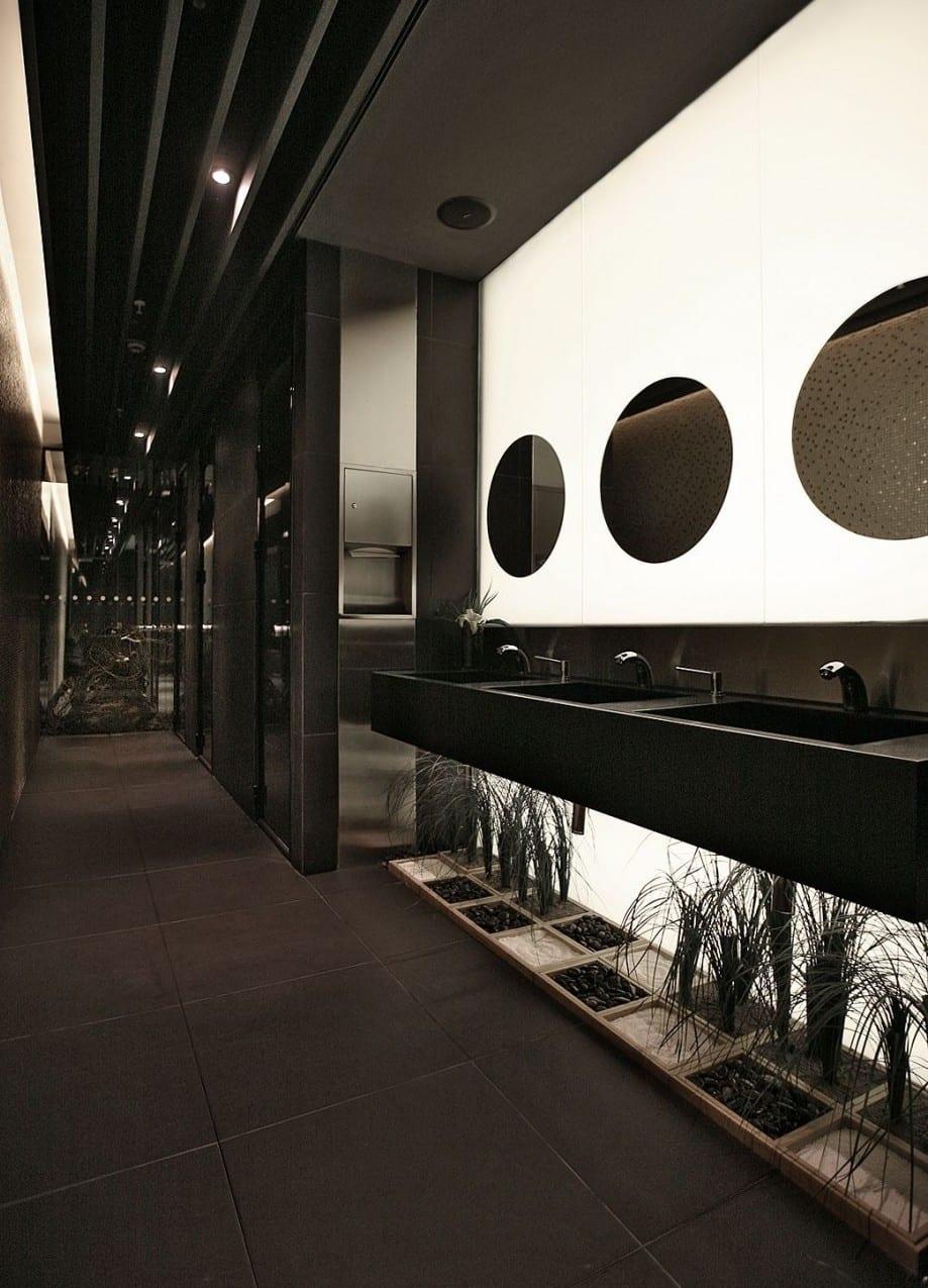 bad modern gestalten mit indirekter beleuchtung hinter opaker glaswand mit runden spiegeln und. Black Bedroom Furniture Sets. Home Design Ideas