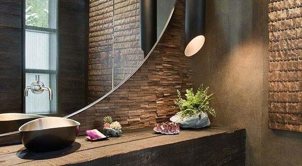 bad modern gestalten mit licht modernes badezimmer design im industrial style mit rundem spiegel. Black Bedroom Furniture Sets. Home Design Ideas