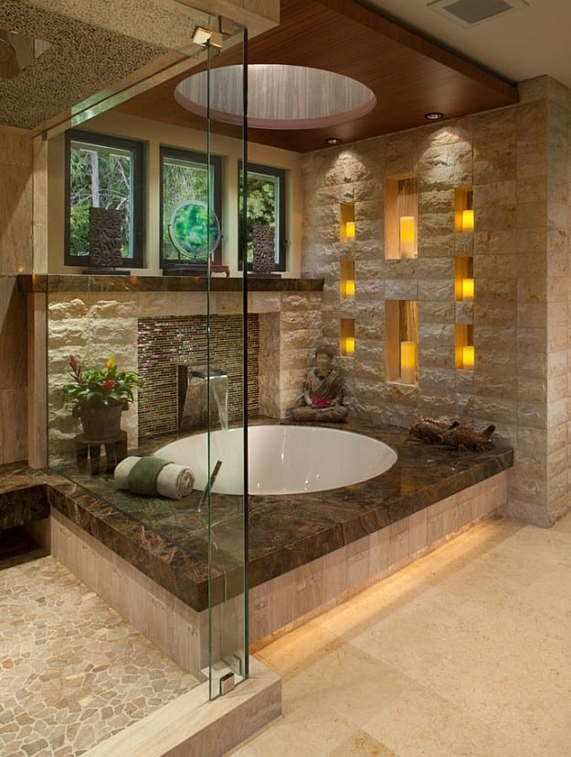 bad modern gestalten mit licht modernes badezimmer im asiatischen stil mit runder badewanne und. Black Bedroom Furniture Sets. Home Design Ideas