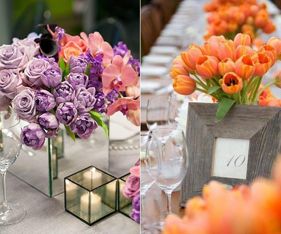 blumendeko hochzeit mit orangen und lilafarbigen tulpen frische tischdeko mit tulpen freshouse. Black Bedroom Furniture Sets. Home Design Ideas