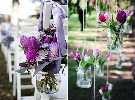 Blumendeko hochzeit mit tulpen in dunkellila und glasgef en als inspiration f r traumhichzeit - Wandfarbe dunkellila ...