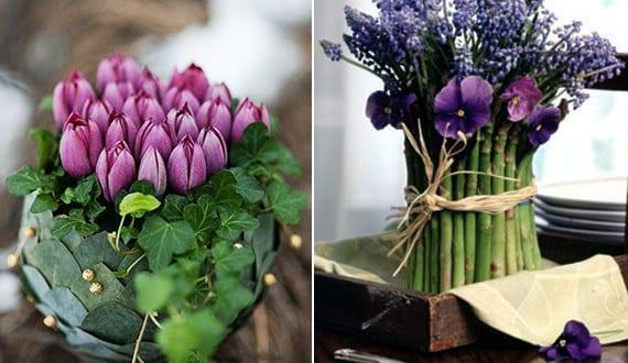 fr hlingsdeko mit fr hlingsblumen in lila und mit rosen kreative tischdeko fr hling mit blumen. Black Bedroom Furniture Sets. Home Design Ideas