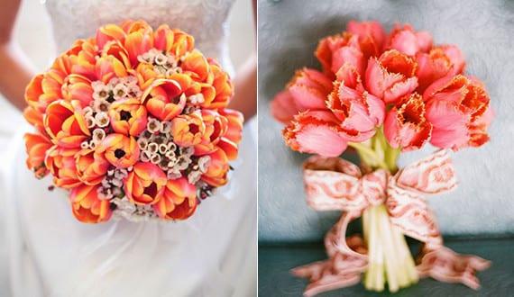 Frische Blumendeko Hochzeit Und Brautstrauss Ideen Mit Orangen Tulpen