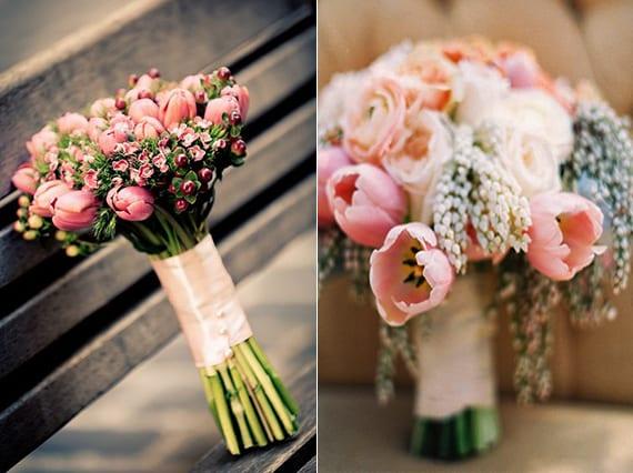 Ideen Fur Blumendeko Hochzeit Und Brautstrauss Mit Tulpen In Rosfarbe