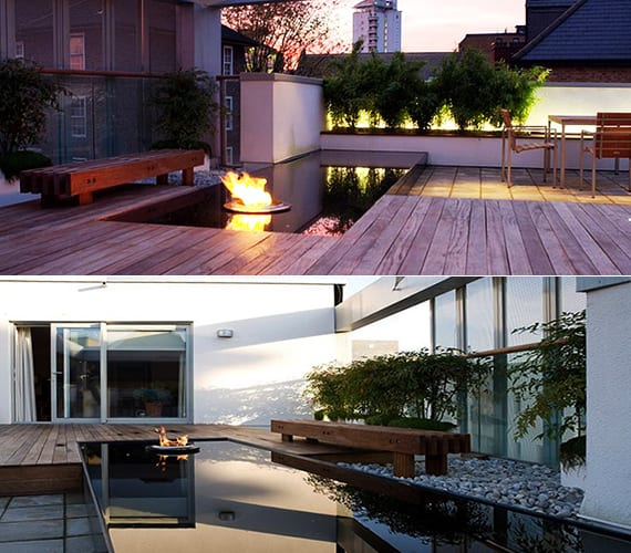 50 coole ideen f r rooftop terrassengestaltung dachterrasse gestalten mit teichbecken und. Black Bedroom Furniture Sets. Home Design Ideas