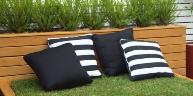bett aus paletten und rasen im garten anlegen als coole gartendeko und moderne gartenm bel idee. Black Bedroom Furniture Sets. Home Design Ideas