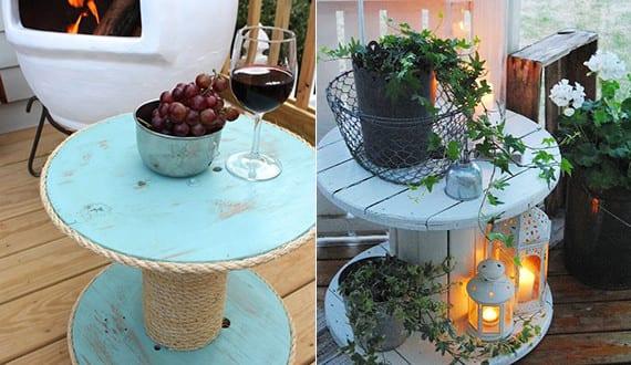 Beistelltisch Terrasse idee für terrasse gestalten mit die beistelltisch aus kabelrollen