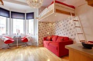 kleine Wohnung einrichten mit Hochhbett_ 1 zimmer wohnung einrichten mit sofa unter loftbed
