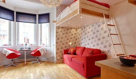 Uberlegen Kleine Wohnung Einrichten Mit Hochhbett_ 1 Zimmer Wohnung Einrichten Mit  Sofa Unter Loftbed