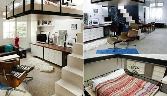 kleine wohnung einrichten mit hochhbett doppel loftbett. Black Bedroom Furniture Sets. Home Design Ideas