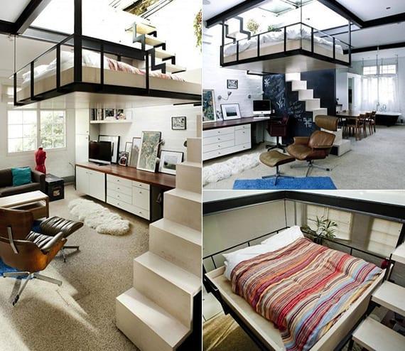 kleine wohnung einrichten mit hochhbett doppel loftbett als platzsparende l sung kleiner. Black Bedroom Furniture Sets. Home Design Ideas