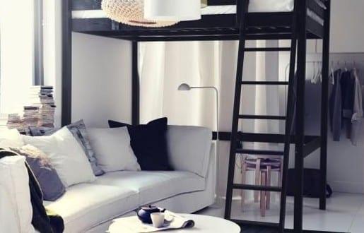 kleine wohnung einrichten mit hochhbett 1 zimmer wohnung. Black Bedroom Furniture Sets. Home Design Ideas