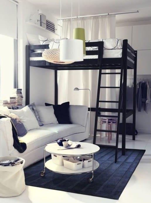 kleine wohnung einrichten mit hochhbett 1 zimmer wohnung einrichten ideen freshouse. Black Bedroom Furniture Sets. Home Design Ideas