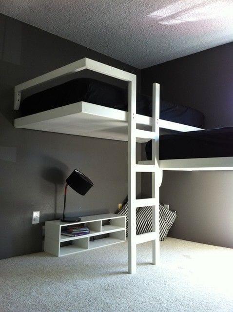 Kleine Wohnung Einrichten Mit Hochhbett_zimmer Einrichten Minimalistisch  Mit Doppelstockbett Weiß