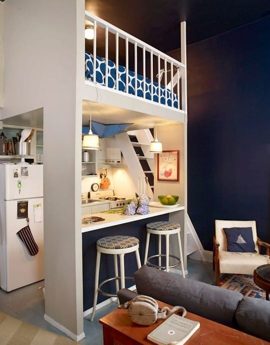 Uberlegen Kleine Wohnung Einrichten Mit Hochbett über Küchenzeile Mit Bar