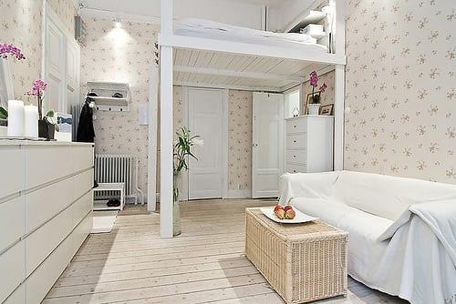 Hochbett Holz Weiß : Kleine wohnung einrichten mit hochbett ein selber bauen