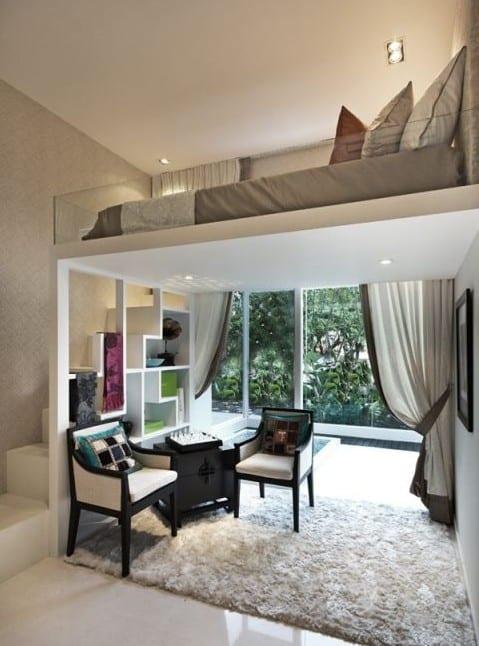 kleine wohnung einrichten mit hochbett kleines wohzimmer ideen mit modernem hochbett design und. Black Bedroom Furniture Sets. Home Design Ideas