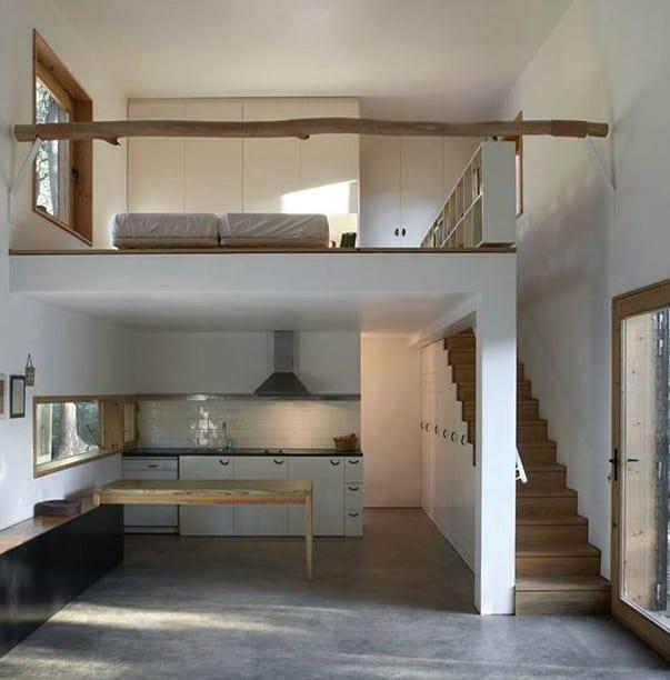 kleine wohnung einrichten mit hochbett loft schlafzimmer gestalten ber k che freshouse. Black Bedroom Furniture Sets. Home Design Ideas