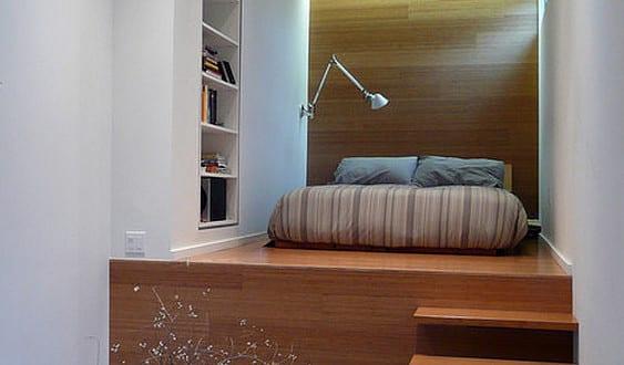 Kleine Wohnung Einrichten Mit Hochbett_schlafzimmer Gestalten Mit  Halbhochbett Für Erwachsene