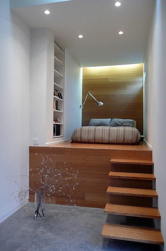 kleine wohnung einrichten mit hochbett schlafzimmer gestalten mit halbhochbett f r erwachsene. Black Bedroom Furniture Sets. Home Design Ideas