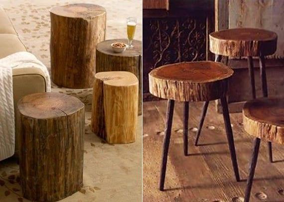 Terrasse Gestalten Mit Diy Beistelltisch Rund Aus Holz Moderne Und