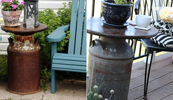 vintage terrasse gestalten mit milchkanne als beistelltisch freshouse. Black Bedroom Furniture Sets. Home Design Ideas