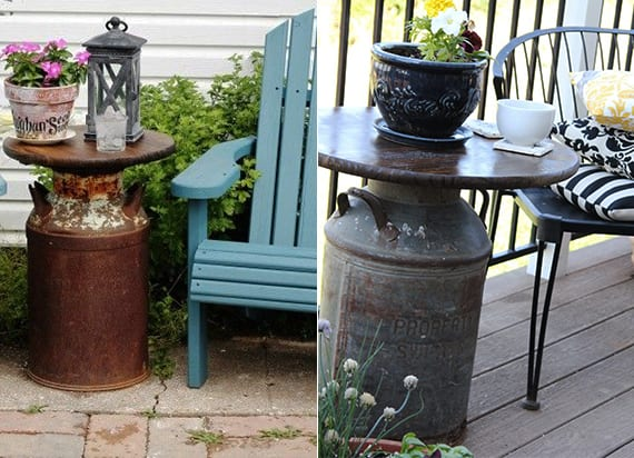 Vintage Terrasse Gestalten Mit Milchkanne Als Beistelltisch Freshouse