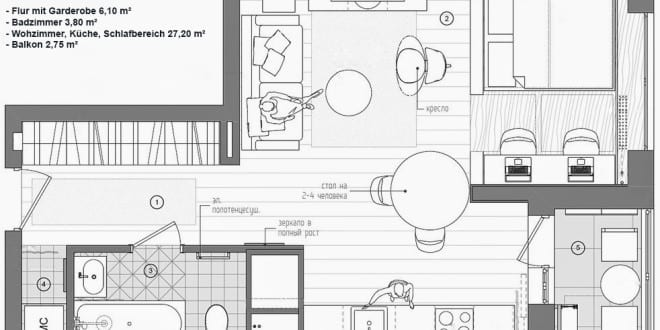 Kleine Wohnung Modern Und Funktionell Einrichten_1 Zimmer Apartment