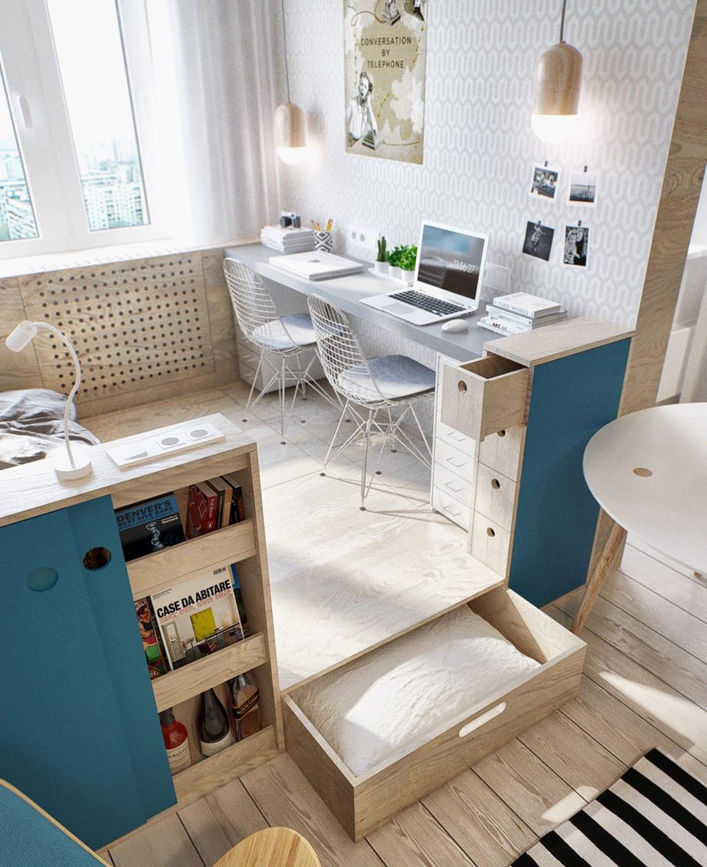 Kleine wohnung modern und funktionell einrichten kleines for Zimmer minimalistisch einrichten
