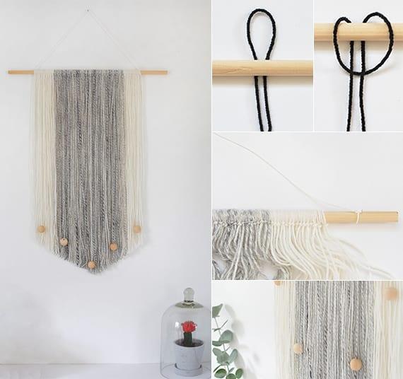 wandbehang deko selber machen aus garn in wei und grau elegante wandgestaltung mit diy wanddeko. Black Bedroom Furniture Sets. Home Design Ideas